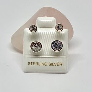 Sterling Silver 925 Telephone White Cubic Zirconia